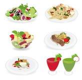 Uppsättning av matmenyn, sallad, räkan och spagetti, Fis Arkivfoto