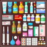 Uppsättning av mediciner Royaltyfri Bild