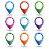 Uppsättning av mång--färgade översiktspekare GPS lägesymbol Arkivfoton