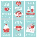 Uppsättning av moderna plana designillustrationer av kort för valentindaghälsning Royaltyfri Fotografi