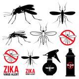 Uppsättning av myggasymboler Zika virusvarning Fotografering för Bildbyråer