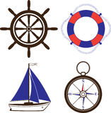 Uppsättning av nautiska och marin- symboler Fotografering för Bildbyråer