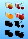 Uppsättning av nya fruktsafter med frukter Arkivbilder