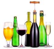Uppsättning av olika alkoholistdrinkar och coctailar Arkivfoto