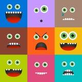 Uppsättning av 9 olika emoticons i fyrkantig form Arkivfoton