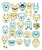 Uppsättning av 24 olika handgjorda avelhundkapplöpningneon Head hund Royaltyfri Foto