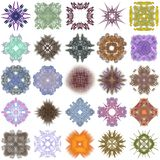 Uppsättning av olika kulöra modeller på en abstrakt fractal Royaltyfri Fotografi