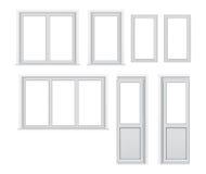 Uppsättning av olika plast- fönsterorienteringsalternativ Arkivbilder