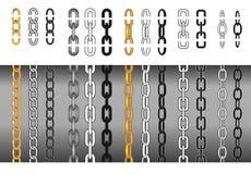 Uppsättning av olika sömlösa och chain delar för kedjor, som gör den, så länge som behövt också vektor för coreldrawillustration Royaltyfri Bild