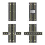 Uppsättning av olika vägavsnitt med övergångar, cykelbanor, trottoarer och genomskärningar illustration Royaltyfri Fotografi