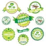 Uppsättning av organiska/bio/naturliga logoer och emblem Arkivbild