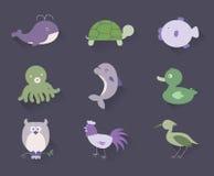 Uppsättning av pastellfärgade djura symboler Arkivbild