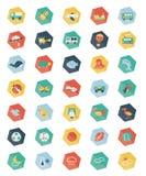 Uppsättning av Pentagonpastellsymboler Arkivbilder
