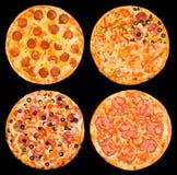 Uppsättning av pizza med peperonin och skinka Royaltyfri Foto
