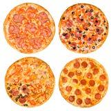 Uppsättning av pizza med skinka och peperonin Arkivbild