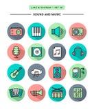 Uppsättning av plan design, lång skugga, den tunna linjen ljud och musiksymboler Arkivbild