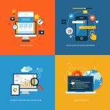 Uppsättning av plana begreppssymboler för rengöringsdukutveckling Fotografering för Bildbyråer