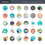 Uppsättning av plana designsymboler för affär och bankrörelsen Royaltyfri Fotografi