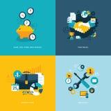 Uppsättning av plana symboler för designbegrepp för affär Arkivfoto