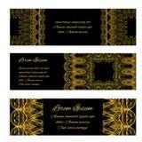 Uppsättning av presentkort, baner och kuponger för tappning lyxiga Royaltyfria Foton