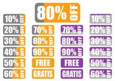 Uppsättning av procentsatsrabattetiketter med indikatorn Arkivfoton