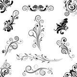 Uppsättning av prydnader för blom- design Arkivbilder