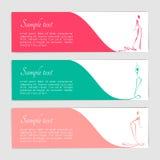 Uppsättning av reklamblad med stiliserade kvinnliga diagram Arkivfoton