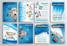 Uppsättning av reklambladdesignen, Infographic mallar Broschyrdesigner Royaltyfri Bild