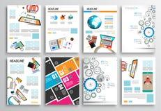 Uppsättning av reklambladdesignen, rengöringsdukmallar Broschyrdesigner, Infographics bakgrunder Arkivfoton