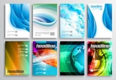 Uppsättning av reklambladdesignen, rengöringsdukmallar Broschyrdesigner, teknologibakgrunder Arkivbilder