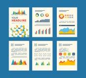 Uppsättning av reklambladet, broschyrdesignmallar finansiellt Arkivfoto