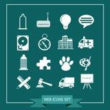Uppsättning av rengöringsduksymboler för website och kommunikation Arkivbild