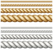 Uppsättning av rep på vit Arkivbilder
