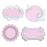 Uppsättning av rosa färgramar för flickor Arkivbilder