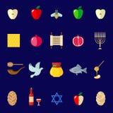 Uppsättning av Rosh Hashanah symboler i plan stil Arkivbilder