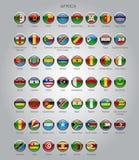 Uppsättning av runda glansiga flaggor av suveräna länder av Afrika Arkivbild