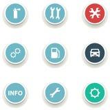 Uppsättning av runda symboler för bilservice Arkivfoto
