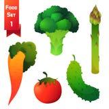 Uppsättning av saftiga grönsaker, grön broccoli och Royaltyfri Fotografi