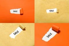 Uppsättning av Sale text Fotografering för Bildbyråer