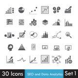 Uppsättning av SEO och Analyticssymbol på vit Royaltyfria Bilder