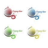 Uppsättning av sfärer för färglogo 3d Abstrakt affärslogoelem Royaltyfri Foto