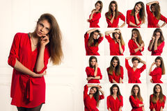 Uppsättning av sinnesrörelsestående av den sexiga brunettkvinnan i en röd skjorta Royaltyfri Foto