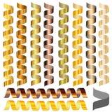 Uppsättning av slingrande av olika guld- signaler Arkivfoto