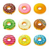 Uppsättning av smakliga donuts Royaltyfria Bilder