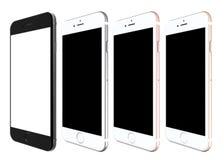 Uppsättning av smartphones för iPhone som 6s framläggas av Apple på detta års händelse i San Francisco Arkivfoto