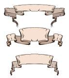 Uppsättning av snirklar och band för tappning forntida med utrymme för text Royaltyfri Bild