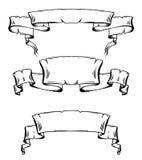 Uppsättning av snirklar och band för tappning forntida med utrymme för text Arkivbilder