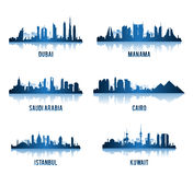 Uppsättning av städer i Mellanösten berömda byggnader Arkivbild