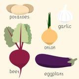 Uppsättning av stiliserade vektorgrönsaker Arkivfoton