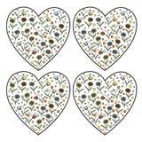Uppsättning av stämplar för tappningvektorhjärta med tusenskönablommor och blåklockor inom Arkivbild